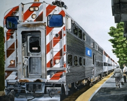 Red and White Train 22x30