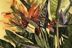 Birds of Paradise w Yellow 22x22