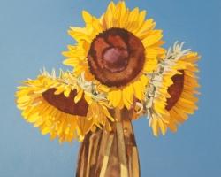 Sunflowers with Vase 14x13